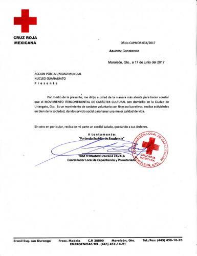 Constancia Cruz Roja Moroleon